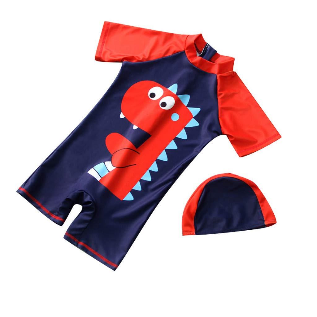 Baby Boys Cartoon Dinosaur One Piece Swimsuit Bathing Suit Set Little Kids Swimwear Rashguard Jumpsuit with Cap Cover Up