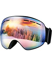 OMORC Skibrille, Doppel-Objektiv + 100% UV-Schutz Snowboardbrille mit Anti-Fog Verbesserte Belüftung Schneebrille Winddicht Ski Goggles Premium Snowboard-Schutzbrillen für Frauen Herren Jugendliche