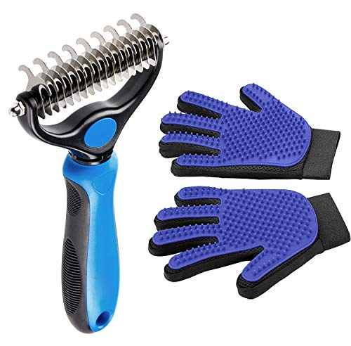 BabyHomder Pet Grooming Tool – Dematting Rake&Grooming Glove Set for Dogs and Cats/ 2 Sided Grooming Rake – Easily and Efficiently Handle Tangles and Matting Hair