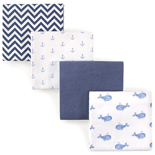 Hudson Baby Receiving Blankets, 4 Pack, Blue (Blue Receiving Blanket)