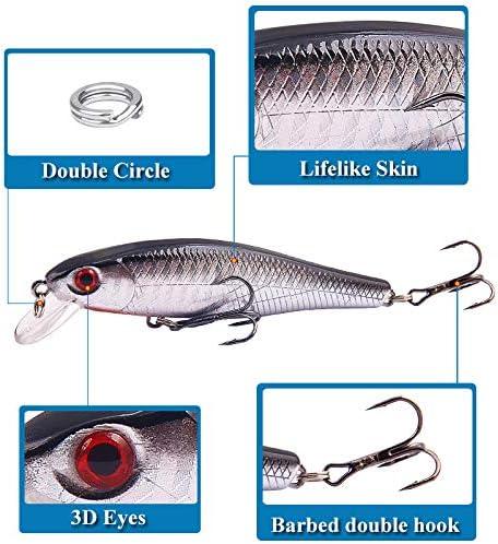 TUXIBIN 5 piezas Topwater Se/ñuelo de pesca Set 8,6 cm 9,3 g gancho de pesca giratorio cola pesca cebo para agua dulce agua salada carpa Bass Lucio TXB5-3