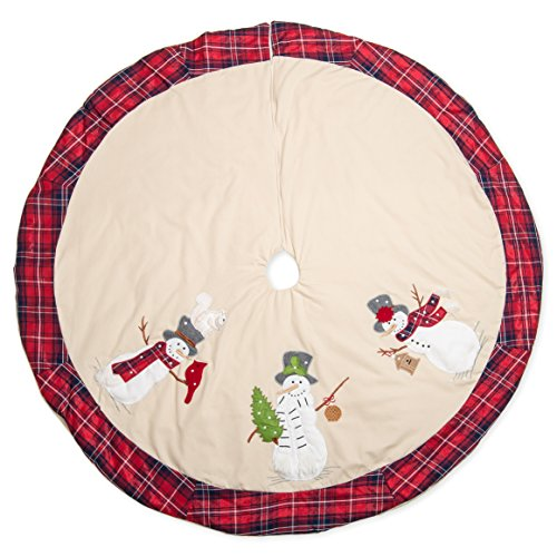 Plaid Top Hat (56 inch Top Hat Snowman and Friend Characters Embroidered Christmas Tree Skirt with Red Plaid Trim)