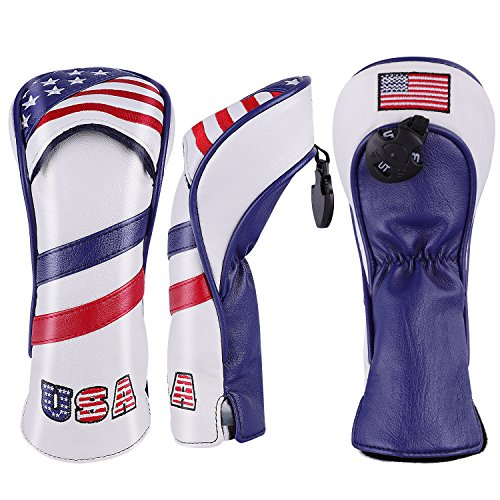 - montela golf USA 1 3 5 Golf Headcover White Vintage Retro Patriotic Driver Fairway Wood Cover