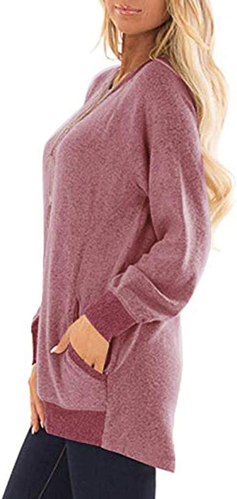 aihihe Womens Sweater Pullover Casual Color Block Long Sleeve Crew Neck Pocket T Shirts Blouses Sweatshirts Tops