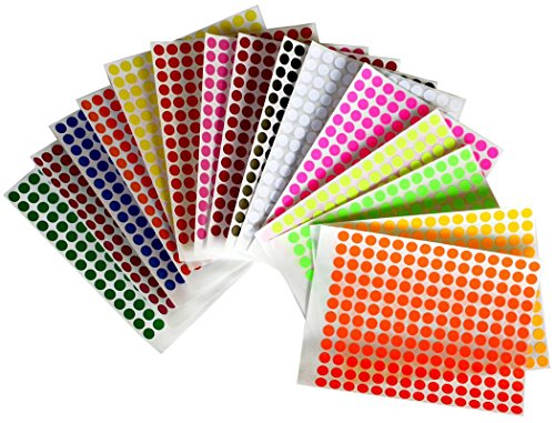 Dot Stickers 1/4 inch 8mm Colored labels in 15 colors - 2688 Pack by Royal Green