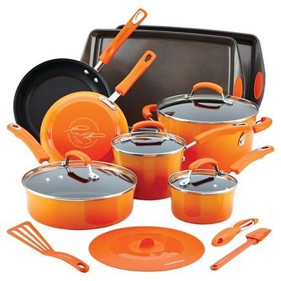 Rachael Ray Hard Enamel Nonstick 16-pc. Cookware Set, Orange