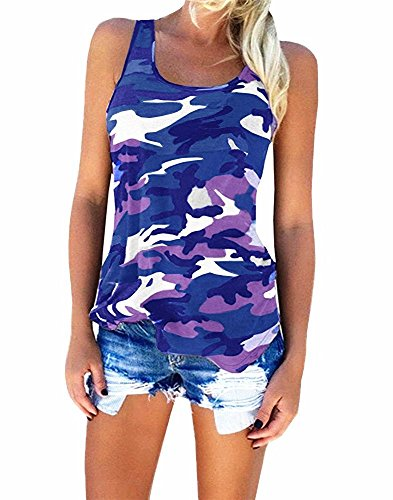 YJWAN Womens Camouflage Casual T Shirt Camo Sleeveless Tanks Top Vest and Short (Vest Blue, XX-Large)