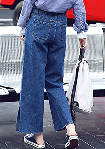 Vita Flare Diviso Alta Su Ragazza I Straight Entrambi Pants Donna Relaxed Dabag Elegante Lati Blu Pantaloni Jeans Pantalone Bqw0SH4Xx