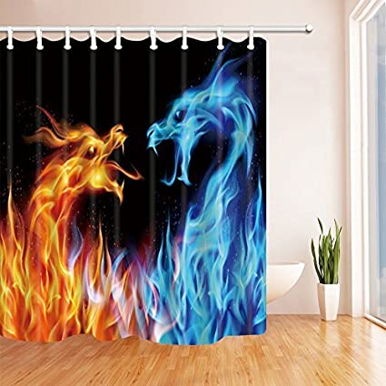 Delicieux HNMQ Ice Fire Dragon Shower Curtain, 69X70 Inches Upgrades Mildew Resistant  Waterproof Fabric Bathroom Decorations