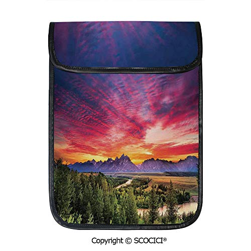SCOCICI Shockproof Tablet Sleeve Compatible 12.9 Inch iPad Pro Colorful Skyline with Clouds in The Forest Lake River Mountain Landscape Sunburst Tablet Protective Bag ()