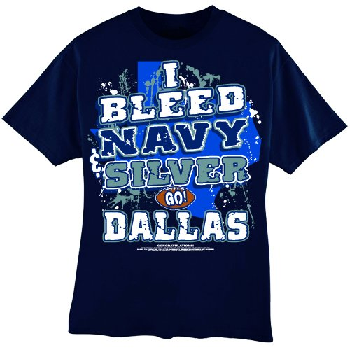 Nfl Game Gear Tee - Encore NFL Dallas Cowboys Football I Bleed Navy & Silver - GO Dallas! T-Shirt, Blue, XX-Large