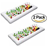 2 Packs Inflatable Pool Table Serving Bar - Large Buffet Tray Server With Drain Plug - Keep Your Salads & Beverages Ice Cold - For Parties Indoor & Outdoor use Bar Party Accessories - Kitchen Dreamers