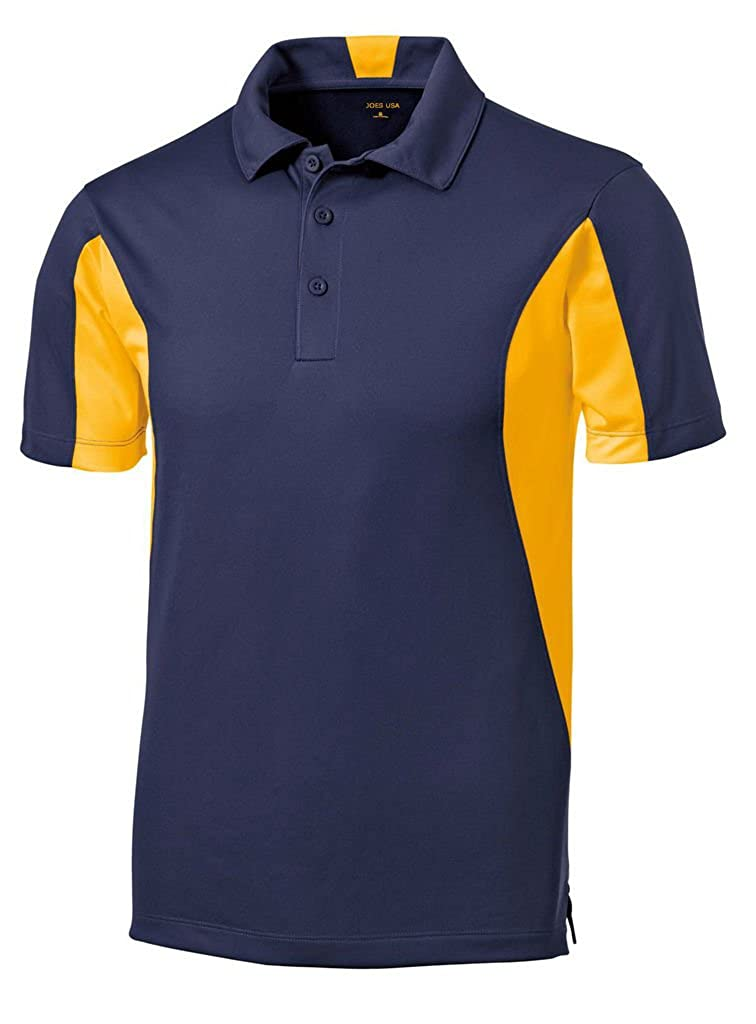 Big /& Tall Sizes Regular Joes USA Mens Moisture Wicking Side Blocked Micropique Polos