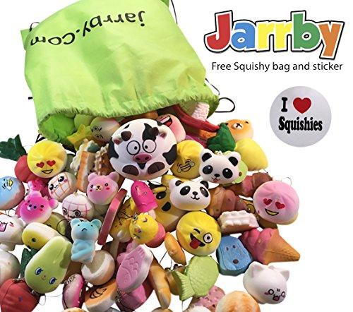 Random Squishies Slow Rising Squishy Kawaii - FREE BAG & STICKER Stress Relief ADHD Sensory Toy EDC - Jumbo Medium Mini Soft Squishy Food Charms - Cake/Panda/Bread/Buns - With Phone Straps - By Jarrby