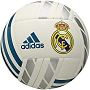 adidas Performance Real Madrid Soccer Ball, White/Vivid Teal/Silver Metallic, 1