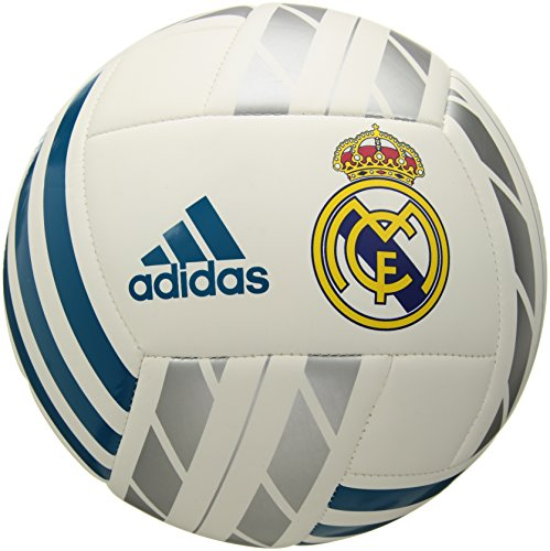adidas Performance BQ1397 Real Madrid Soccer Ball, White/Vivid Teal/Silver Metallic, 5