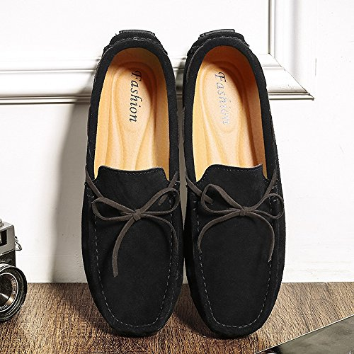 Men's Driving Loafers Suede Lace up Genuine Leather Upper Moccasins Soft Sole Cricket Shoes Black 85SJrz
