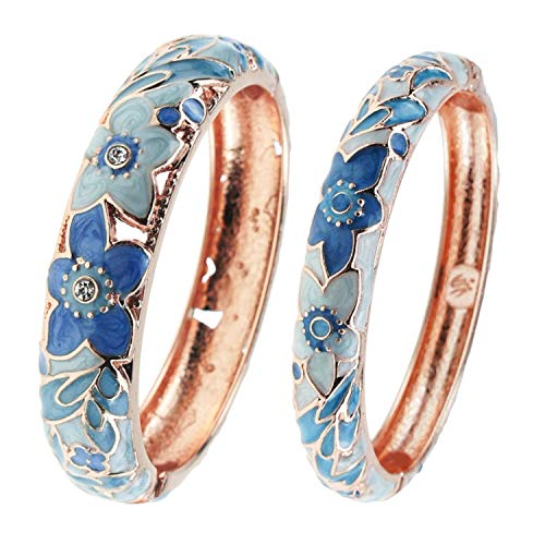UJOY Vintage Bangle Jewelry Cloisonne Bracelet Gold Enamel Hollow Flower Gift Bangles Box for Women 88A12 light blue ()