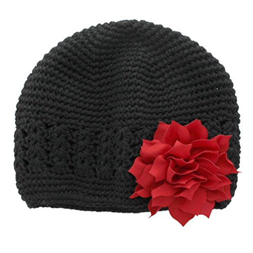 Red Hats Crochet Hat (My Lello Infant Baby Girl's Crochet Beanie Hat with Flower Black/Red)