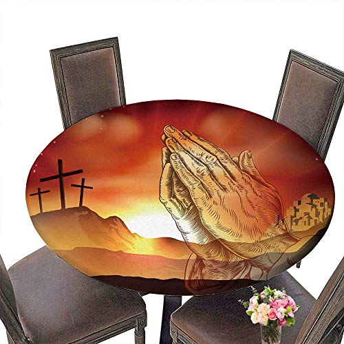 PINAFORE Round Tablecloths Christian Easter Concept of Crosses on Calvary Hill and Praying Hands Dinner, Parties 50