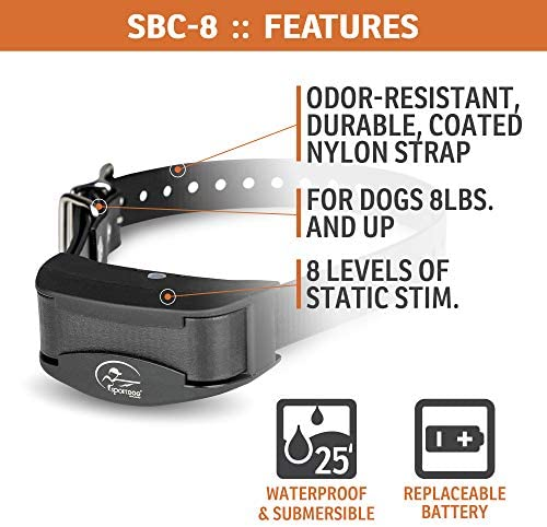 SportDOG Brand NoBark 8 Collar - Easy-to-Use Bark Collar - Waterproof & Submersible