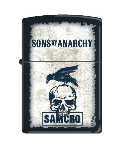 Anarchy Zippo Lighter - Zippo Lighter - Sons of Anarchy SAMCRO with Crow Black Matte