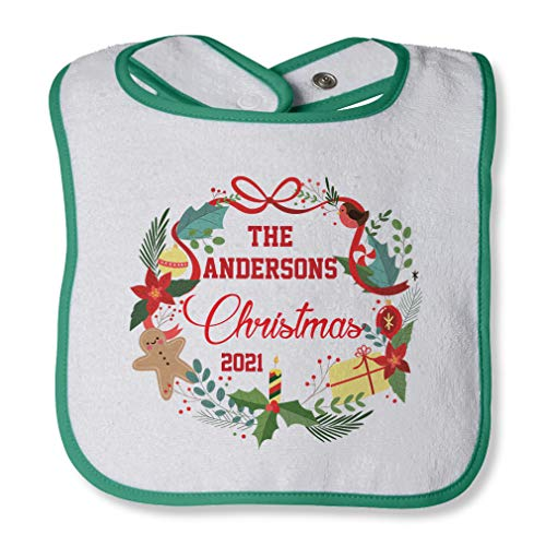 Personalized Custom Christmas Ribbon Gingerbread Cotton Boys-Girls Baby Terry Bib Contrast Trim - White Green, One Size -