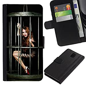 KingStore / Leather Etui en cuir / Samsung Galaxy Note 3 III / Divertido Pin atractivo encima de la muchacha