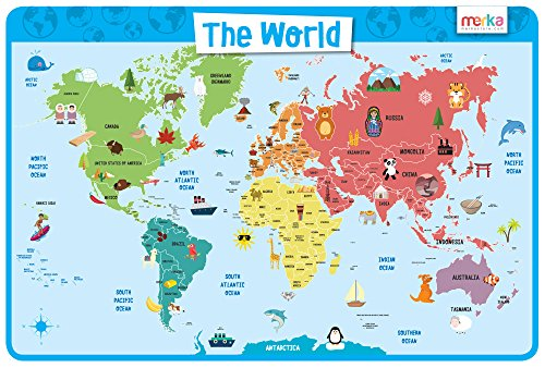 merka Educational Kids Placemat - Non Slip Washable (World Map)