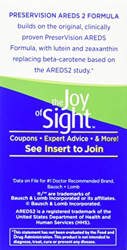 Bausch + Lomb PreserVision AREDS 2 Eye Vitamin & Mineral Supplement Soft Gels, 90 Count Bottle, Packaging may Vary