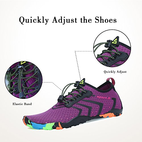 Unisex Water Shoes Aqua Womens Mens for Barefoot Swimming Pool Beach Walk Purple gfEkHBHlk