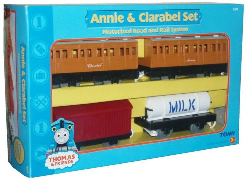 Thomas and Friends Motorized Road and Rail System Annie and Clarabel Set - Annie and Clarabel Passenger Coaches, 1 Freight Truck and 1 Milk ()