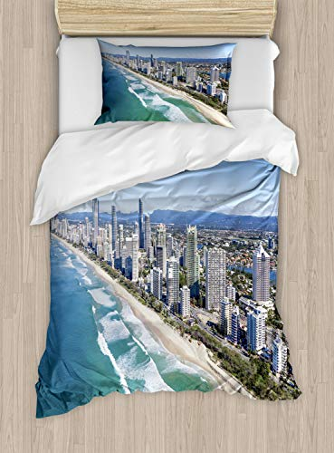Lunarable Australia Duvet Cover Set, Aerial View of Gold Coast Famous Queensland Panorama Shoreline Buildings Photo, Decorative 2 Piece Bedding Set with 1 Pillow Sham, Twin Size, Multicolor (Outdoor Queensland Furniture)