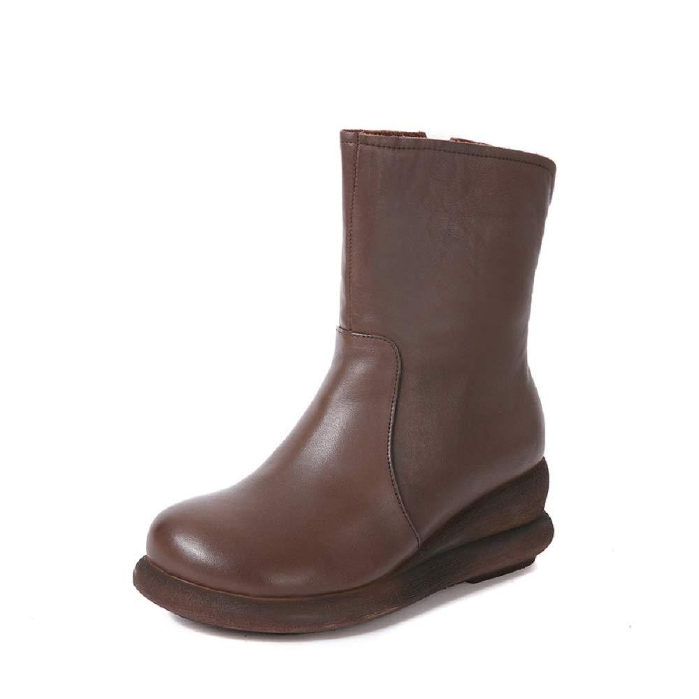 Fuxitoggo Mid Calf Stiefel Frauen Leder Reißverschluss Plattform Keilabsatz Schuhe (Farbe   Braun, Größe   EU 38)