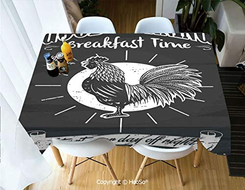 HooSo Fabric Rectangular Table Cloth, Washable Table Cover Perfect for Christmas, Thanks Giving, Dinner Parties, BBQ and Everyday Use,Kitchen Decor,Chalkboard Kitchenware Menu Art Morning,60