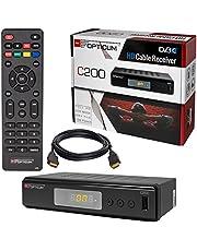 HB-DIGITAL Set: kabelontvanger kabelontvanger - DVB-C HB-DIGITAL set: Opticum HD C200 receiver voor digitale kabeltelevisie (HDMI, SCART, USB 2.0, mediaspeler) + HDMI-kabel