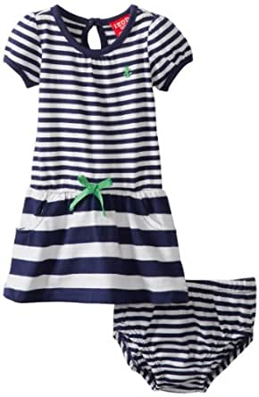 Izod Baby Girls' Girl Yarn Dye Stripe Polo Dress with Diaper Cover, Navy, 12 Months