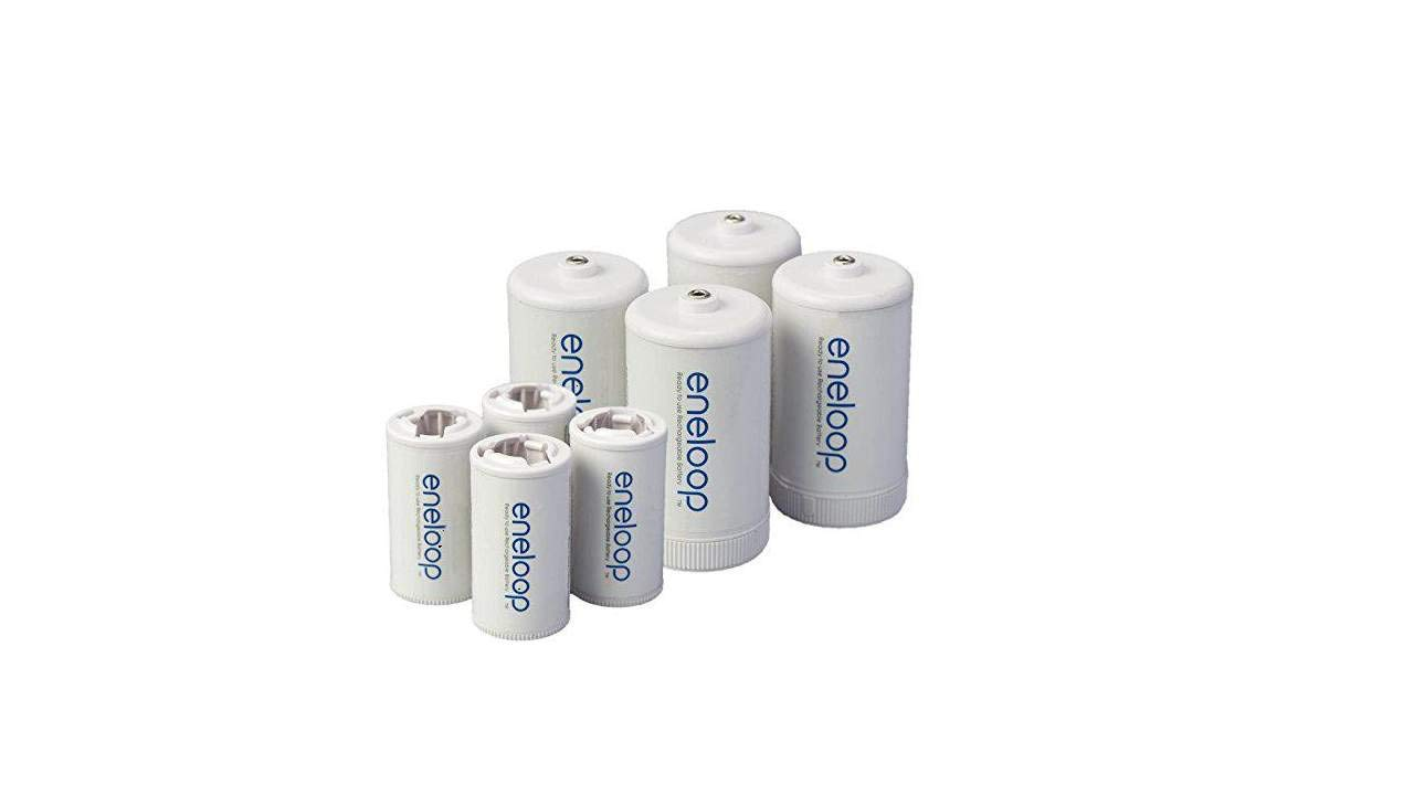 Eneloop Spacers 4 C Size Spacers & 4 D Size Spacers for Use with Ni-MH Rechargeable AA Battery Cells & Case Pack of 8 by eneloop
