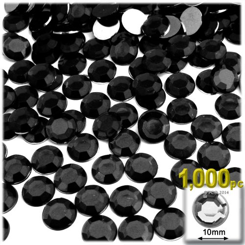 The Crafts Outlet 1000-Piece Flat Back Acrylic Round Rhinestones, 10mm, Jet Black ()