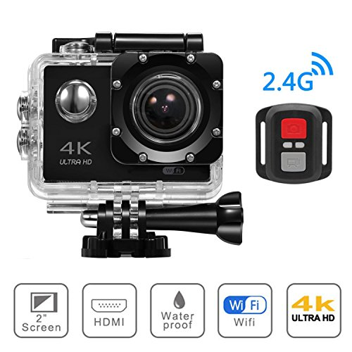 4K WIFI Sports Action Camera, Beafup 4K Ultra HD Waterproof Cam 16MP DV Camcorder with 30M Remote Control, Underwater Camcorder With Tons Accessories Kits by Beafup