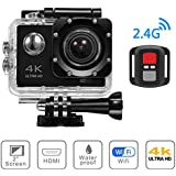 4K WIFI Sports Action Camera, Beafup 4K Ultra HD Waterproof Cam 16MP DV Camcorder with 30M Remote Control, Underwater Camcorder With Tons Accessories Kits