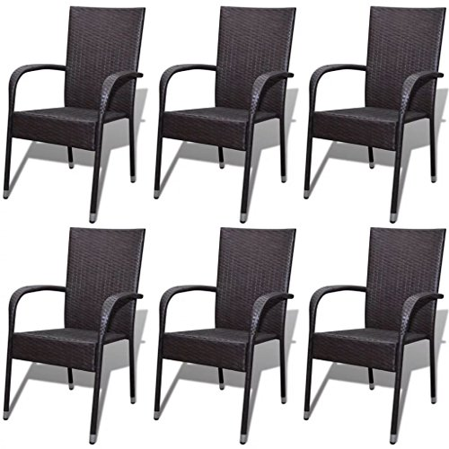 tio Garden Wicker Stacking Dining Chairs Set of 6,Poly Rattan ()