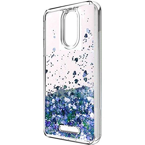 T-Mobile Revvl Plus case, Skmy Liquid Glitter Sparkle Girl Women Cute Clear TPU+Shockproof Hard PC Protective Case T-Mobile/Coolpad Revvl Plus 6 (Not Alcatel Revvl) (Blue)