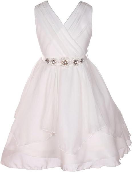 47502c70b8 Little Girls Chiffon Tulle V Neck Floral Belt Formal Pageant Flower Girl  Dresses Off White 4