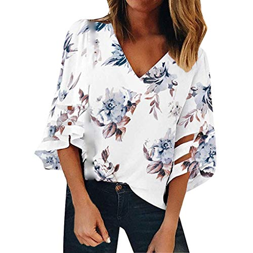 Mesh Panel Blouse Womens V Neck 3/4 Bell Sleeve Casual Loose Top Shirt