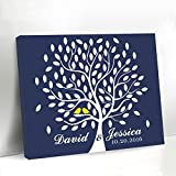 Navy Blue Wedding Tree Guestbook Alternative Yellow Birds on the Branch Canvas Framed Leaves Guest Book Wall Art Wedding Signs