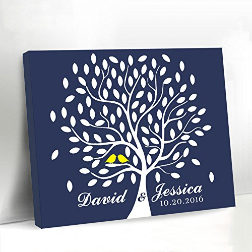 Navy Blue Wedding Tree Guestbook Alternative Yellow Birds on the Branch Canvas Framed Leaves Guest Book Wall Art Wedding Signs by Larmai