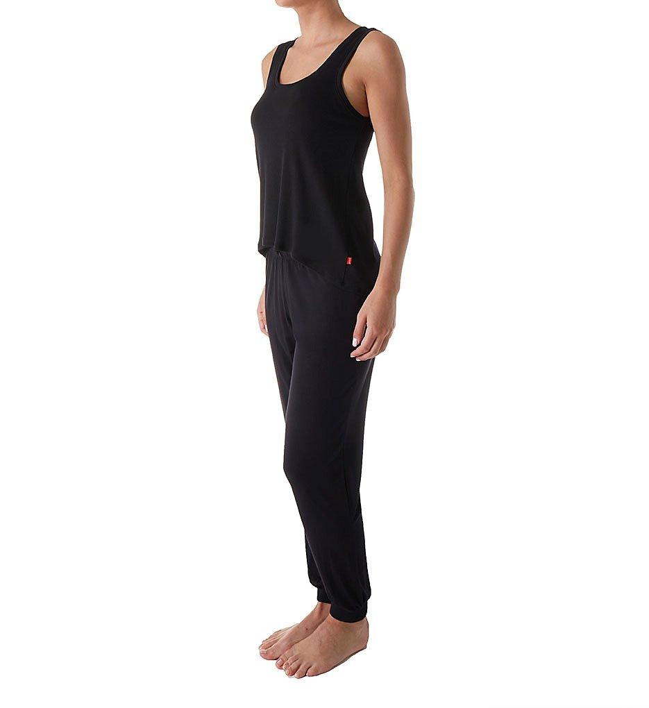 Josie by Natori Women's Ribbed Pajama Set, Black, Large