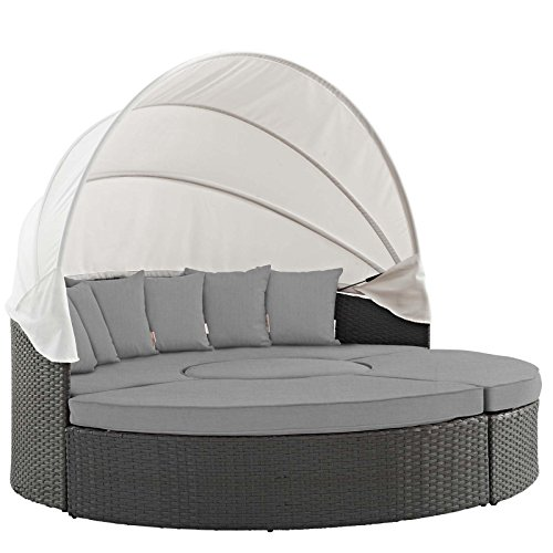 Modway EEI-1986-CHC-GRY Sojourn Wicker Rattan Outdoor Patio Sunbrella Fabric Canopy Sectional Sofa, Daybed, Canvas Gray
