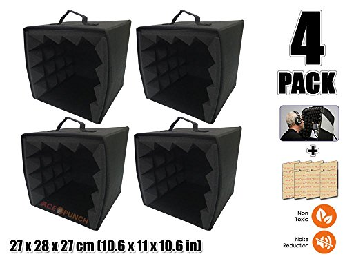 Acepunch Masterlist - Aislante de Espuma acústica Esquina de bajo, Mic Booth AP1159, 4 Pieces